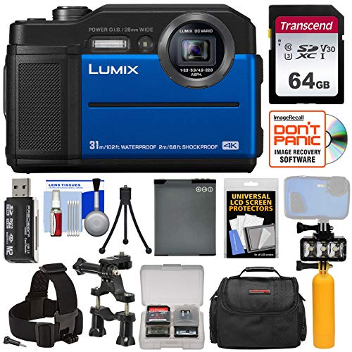 Panasonic Lumix DC-TS7 4K Tough Shock & Waterproof Digital Camera (Blue) with 64GB Card + Battery + Case + LED Video Light + Buoy + Action Mounts Kit