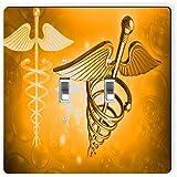 Rikki Knight 8867 Double Toggle Orange Medical Doctor Symbol Design Light Switch Plate