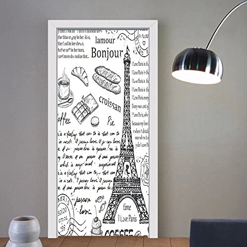 Gzhihine custom made 3d door stickers Paris Decor Doodles Illustration of Eiffel Tower Hearts Chandelier Flower Love Themed Vintage Artwork Decor Beige Pink For Room Decor 30x79 by Gzhihine