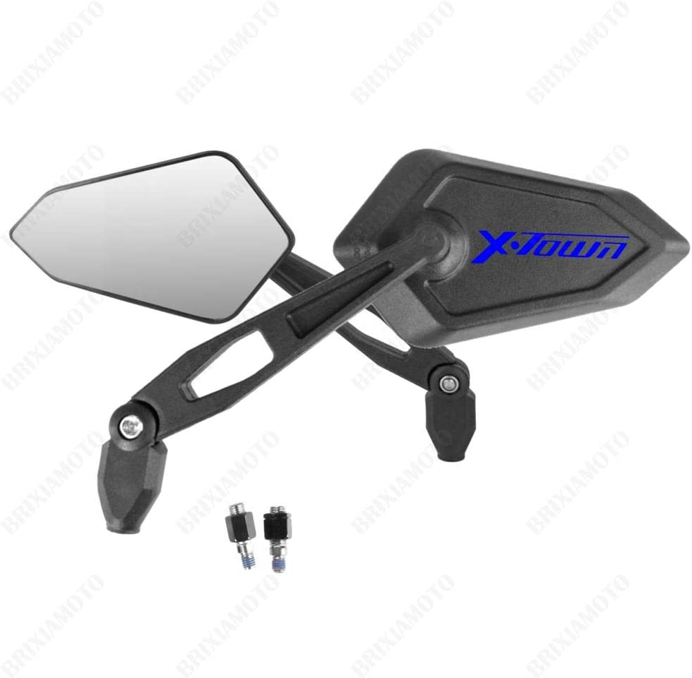 PAIR OF MIRRORS MIRROR APPROVED STREET BLACK BLUE LOGO KYMCO X-TOWN