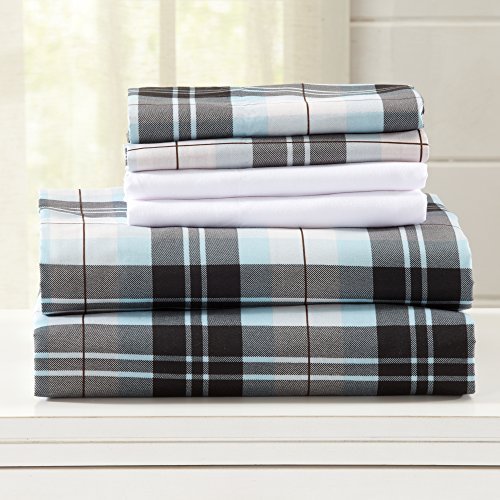 Hanley Collection Egyptian Quality Double Brushed Microfiber Sheet Set. Hypoallergenic, Wrinkle & Fade Resistant Hotel Luxury Bed Sheets. By Great Bay Home Brand. (Twin, Blue/Brown Plaid)