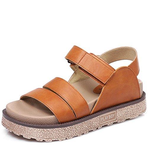 Estudiantes gruesas sandalias romanas/Sandalias de pasta de color puro mágico D