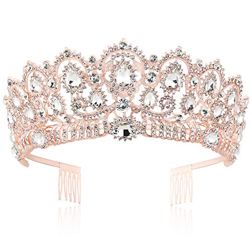 BABEYOND Vintage Crystal Queen Crown Prom Pageant Quinceanera Crown Tiara Rhinestone Wedding Princess Tiara Headband with Comb Pin (Rose Gold) ()
