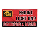 Engine Lights On? Diagnostic & Repair Outdoor Fence Sign Vinyl Windproof Mesh Banner With Grommets - 2ftx3ft, 4 Grommets