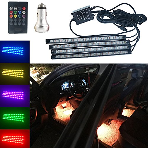 Car LED Interior Light Kits,4 PCS Waterproof DC12V Multicolor Music Car LED Strip Light Under Dash Lighting With Sound Active Function And Wireless Remote Control,Dual Ports Car Charger Inlucded