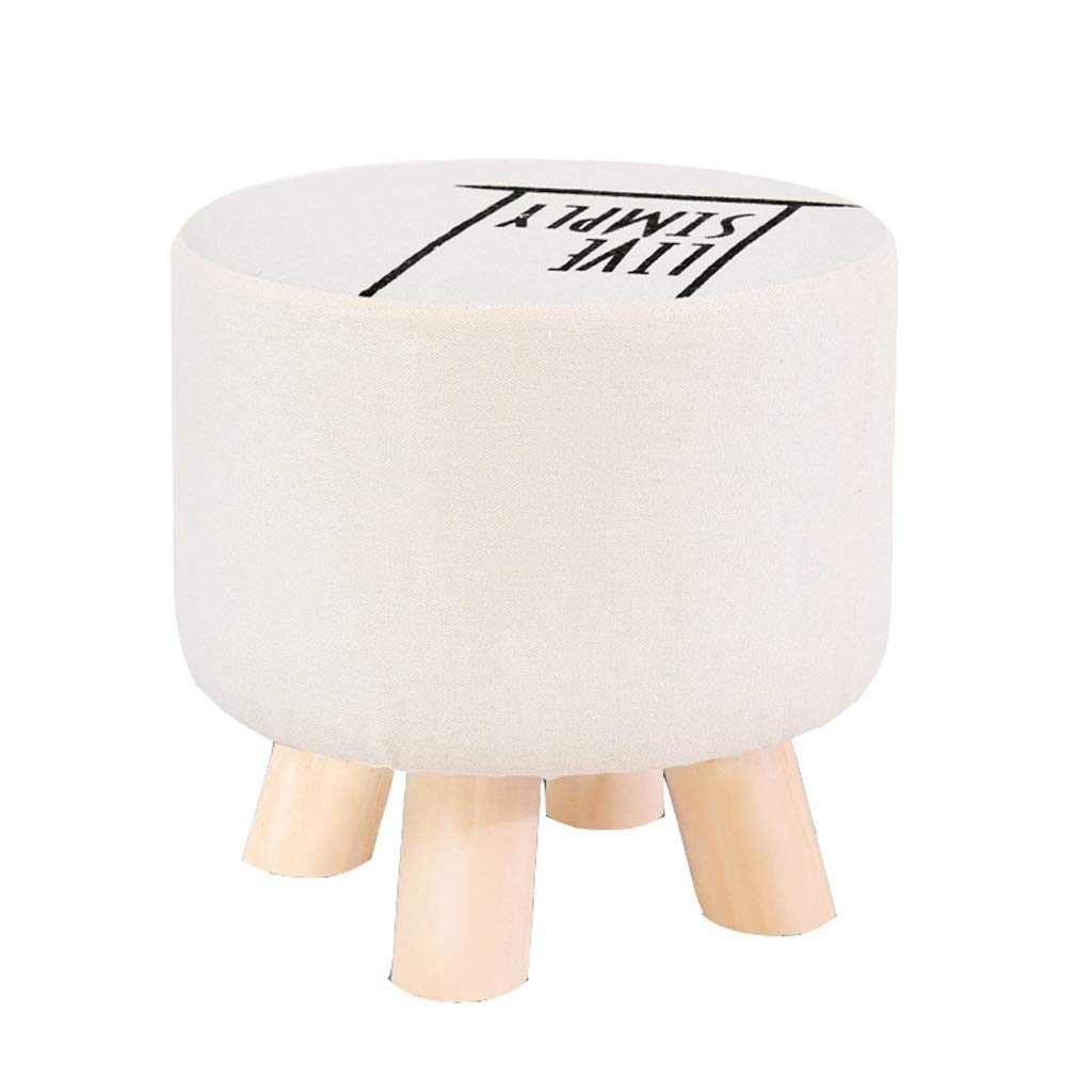 H JCOCO Solid Wood Stool - Cloth Cover Can Be Washed and Washed Creative Art Small Stool Home Round Square Art Small Stool Sofa Stool (color   B)