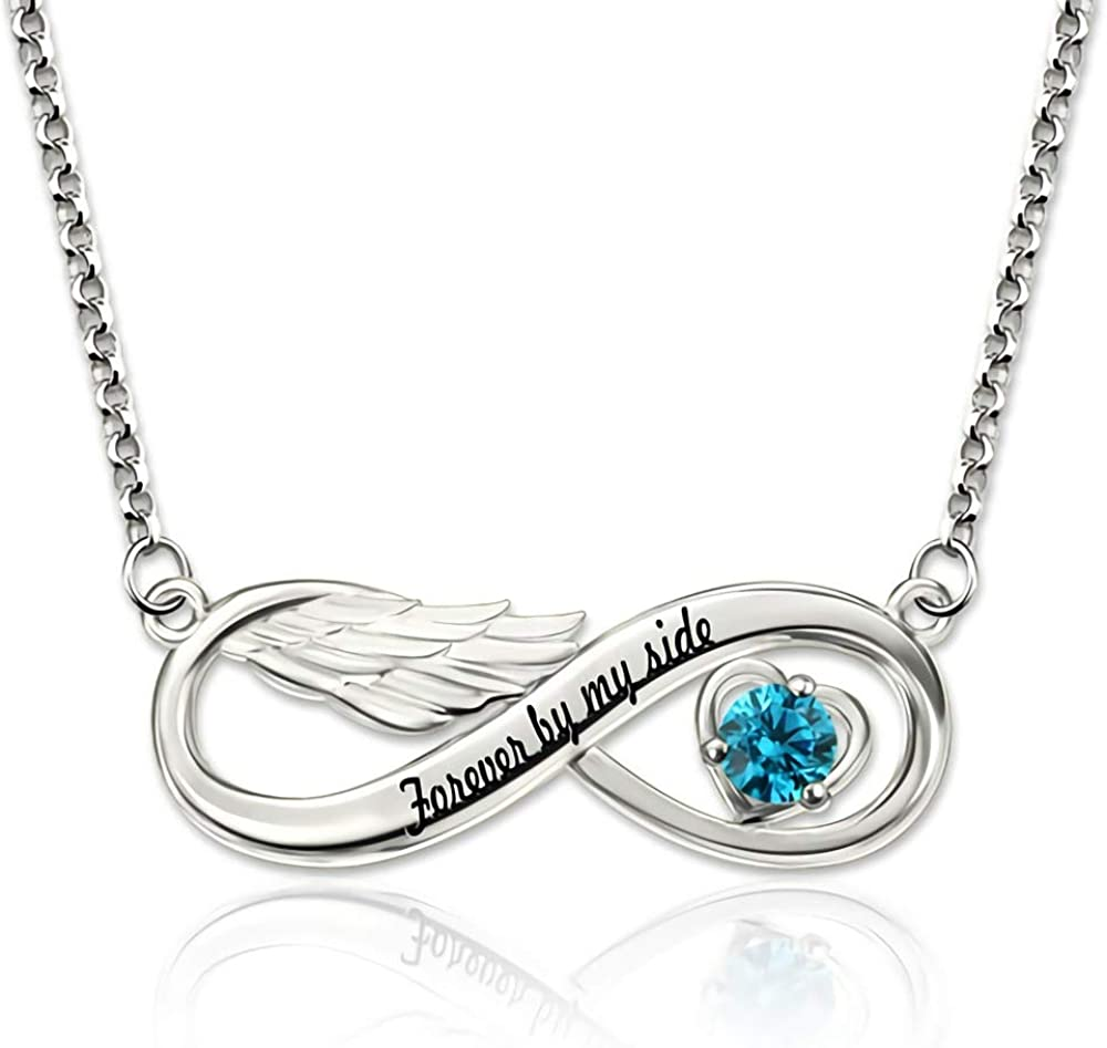 Hulda Infinite Angel Wing Custom Name and Birthstone Pendant Necklace S925 Standard Silver Angels Guardian Love