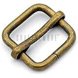 "CRAFTMEmore Movable Bar Slide Strap Adjuster Rectangle Strap Keeper Triglide Belt Keeper Purse Making 5/8"" 3/4"" 1"" Pack of 10 (5/8 Inch, Antique Brass)"