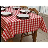 Flannel Back Tablecloth Camping / Picnic Table cover MADE IN THE USA (52x84, red/white check)