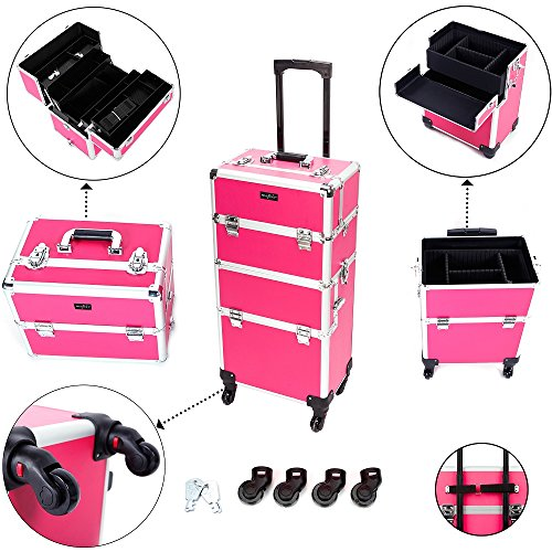 Mefeir 2-in-1 Rolling Makeup Train Case,4 Removable Travel Wheels w/Lockable Keys +Shoulder Strap,Aluminum Cosmetic Trolley Beauty Artist Organizer, for Mother Wife Girlfriend Daughter (Rose-Pink)