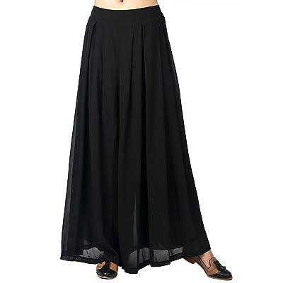 Choies Women's Chiffon Pleated Plain Elastic Waist Wide Leg Palazzo Pants Black One Size at Women's Clothing store