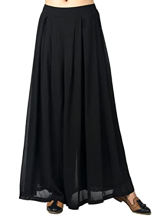 e9cf4d4ac8 Choies Women's Chiffon Pleated Plain Elastic Waist Wide Leg Palazzo Pants  Black One Size