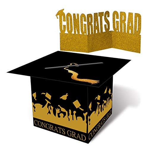 (Grad Cap Card Box Centerpiece - Graduation Party Supplies 2019 - Congrats)