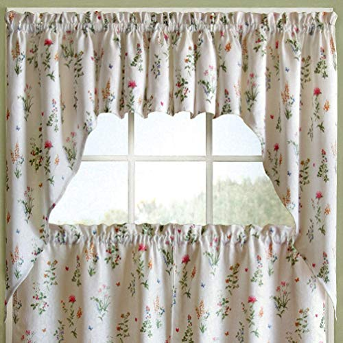 (English Garden Floral White Jacquard Kitchen Curtains Tier Valance Or Swag)