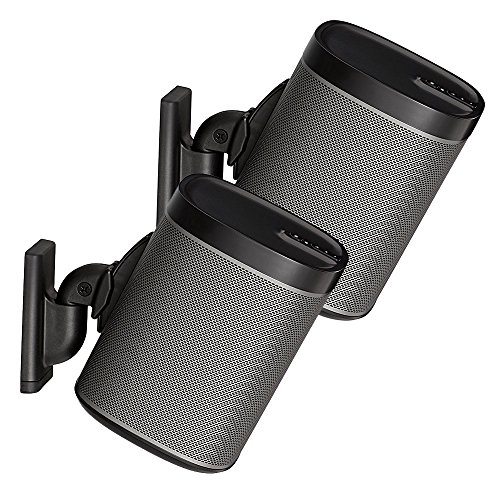 Sanus Wireless Speaker Wall Mounts for Sonos PLAY:1 & PLAY:3 - Tool Free Tilt & Swivel Adjustments For Best Audio - Pair (Black) - WSWM2-B1