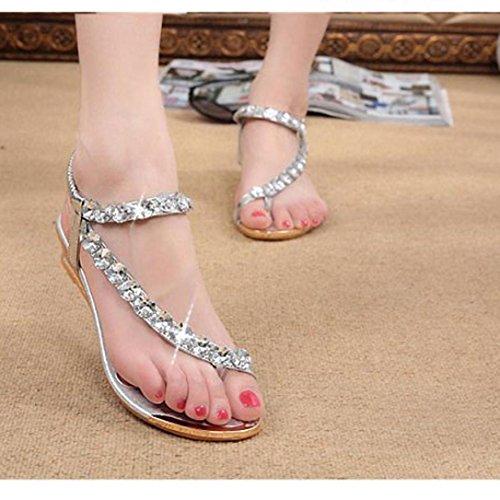 Price comparison product image Hemlock Women Girl Rhinestone Sandals Roman Shoes Flat Sandals (US:8