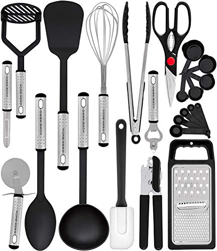 Home Hero Kitchen Utensil Set - 23 Nylon Cooking Utensils - Kitchen Utensils with Spatula - Kitchen Gadgets Cookware Set - Best Kitchen Tool Set (Best New Cooking Tools)