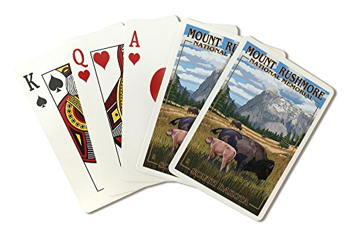 Mount Rushmore National Memorial, South Dakota - Bison Scene (Playing Card Deck - 52 Card Poker Size with Jokers)