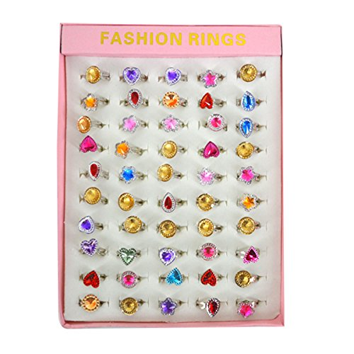 Acrylic Glitter Ring - Felice Little Girls Princess Jewelry Rings in Box Adjustable Gem Glitter Kids Rings Party Favors (crystal 50)