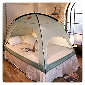 Floor-less Indoor Privacy Tent on Bed Blackout keep Warm Play Tent (Medium:Double Full Queen bed) (Mint)