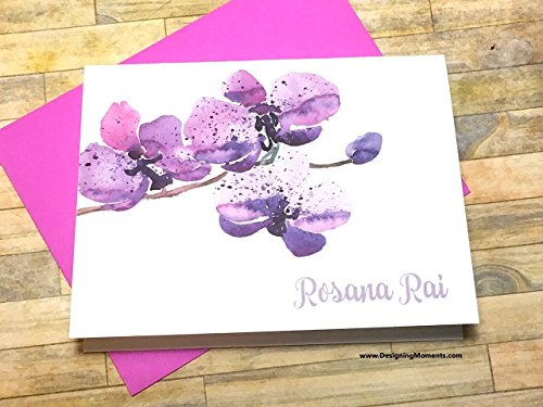 Purple Orchid Personalized Stationery - Custom Watercolor Orchid Flower Note Cards - Delicate Orchid Stationary - Thank You Cards DM179 ()