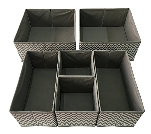 (Sodynee Foldable Cloth Storage Box Closet Dresser Drawer Organizer Cube Basket Bins Containers Divider with Drawers for Underwear, Bras, Socks, Ties, Scarves, 6 Pack, Stripe)