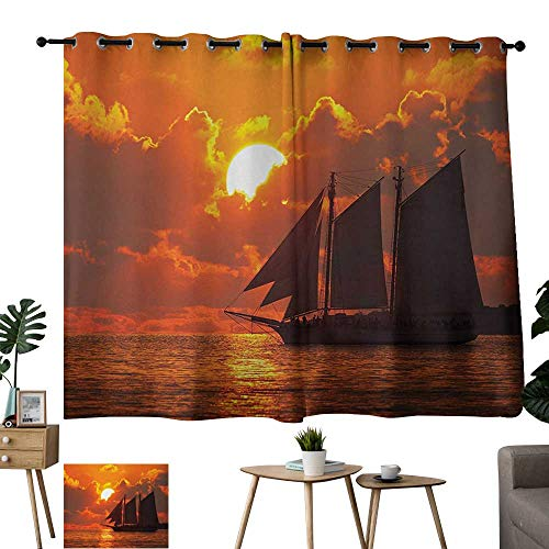 Hariiuet Grommet Customized Curtains Sailboat A Boat Sailing in Front of a Sunset in Key West Florida Sundown Tropical Orange Dark Orange Outdoor Patio Curtains W63 xL45 (Loop Patio Bars West)