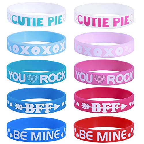 Unomor 40PCS Valentine's Day Heart Silicone Bracelets Wristbands Party Favors Kids Gifts Supplies ()