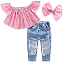 Girls Hole Jeans Trousers Off Shoulder Clothing Headband 3pcs Baby Set Size 6M-5Y
