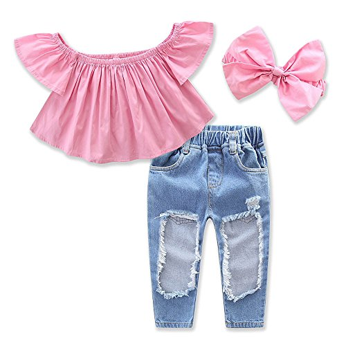 Samgami Baby Girls Hole Jeans Trousers Off Shoulder Clothing Headband 3pcs Baby Set Size 6M-5Y (Tag90/1-2Y, Pink)