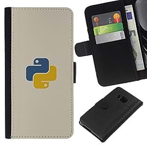 KLONGSHOP // Tirón de la caja Cartera de cuero con ranuras para tarjetas - Azul amarillo - HTC One M7 //