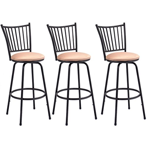Costway Set of 3 Swivel Counter Height Bar Stools Modern Barstool Bistro Pub Chair