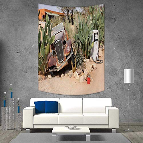 smallbeefly Vintage Car Wall Hanging Tapestries Old Broken Car Desert Plants Gasoline Station Vintage Rusty Vehicle Photo Large tablecloths 57W x 74L INCH Brown -
