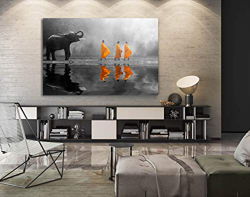 lephant Buddha Zen Wall Art with Frame Picture Canvas Prints for Study or Office Zen Wall Decor Paintings Waterproof (Elephant Zen, 28x40inch) ()