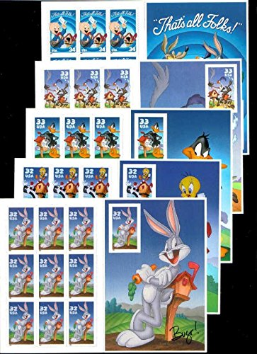 Looney Tunes Complete Set of 5 Sheets of 10 Stamps Each: Porky Pig, Wile E. Coyote and Road Runner, Daffy Duck, Sylvester and Tweety Pie, and Bugs Bunny ()
