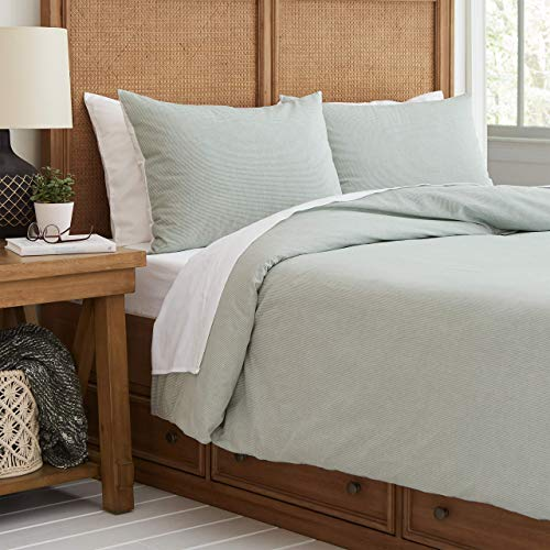 (Stone & Beam Classic Duvet Cover, Full/Queen, Green/White)
