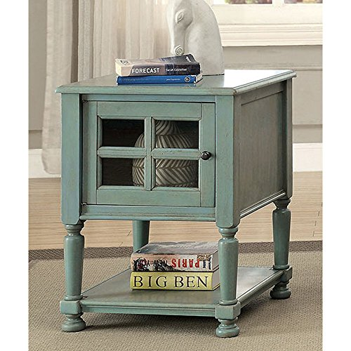 1PerfectChoice Jaida Vintage Style Side End Snack Stand Table Cabinet Shelf Turned Legs Antique Color Antique Teal