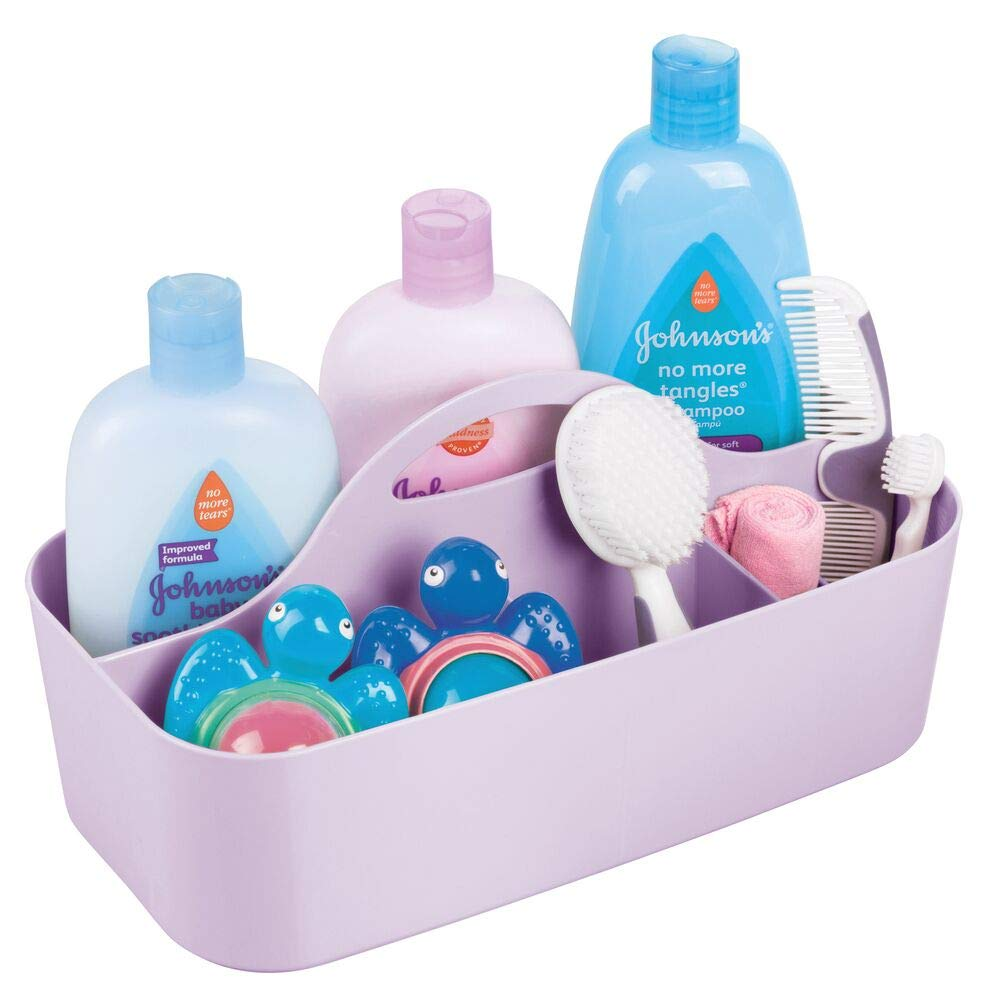 mDesign Plastic Portable Nursery Storage Organizer Caddy Tote - Divided Basket Bin with Handle - Holds Bottles, Spoons, Bibs, Pacifiers, Diapers, Wipes, Baby Lotion - Large - Wisteria Purple by mDesign