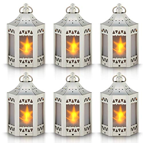 Mini Star Lantern with Flickering LED,Battery Included,Decorative Hanging Lantern,Christmas Decorative Lantern,Indoor Candle Lantern,Battery Lantern Indoor Use,Zkee(Set of -