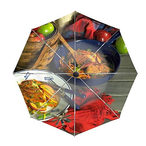 Vegetables Food Meat Dishes Travel Umbrella,Automatic Folding Umbrella,Auto Open Close