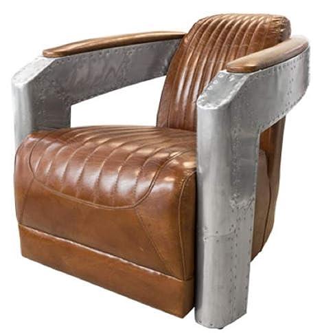 Casa-Padrino Art Deco Sillón Aluminio Cuero Real Marrón ...