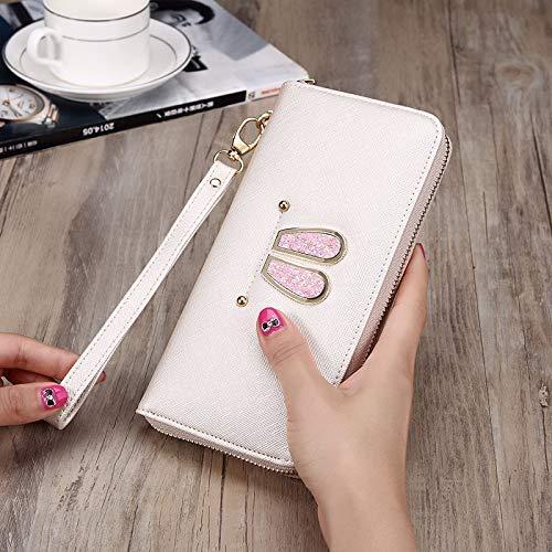 Ladies Handbag Lady Purse Long Clutch Bag Fashion Simple Mobile Phone Bag Rabbit Ear Cute Wallet (color   Apricot)