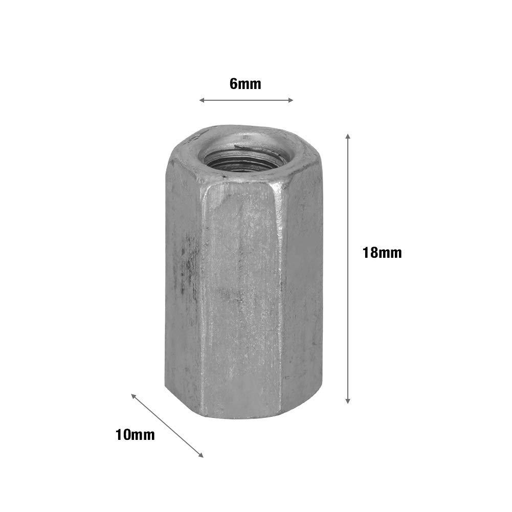 M6*18 10 pi/èces M6 /écrous longs en acier au carbone /écrou hexagonal /à tige d/écartement filet/é /écrou /à manchon hexagonal entretoise /écrou filet/é attaches