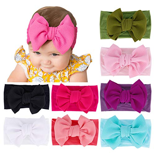 Qandsweet Baby Headbands with Flower Girl's Nylon Turban Hair Accessories (8Pcs Newest08)