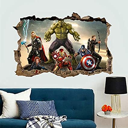 Best Quality   Wall Stickers   3D Effect The Avengers Wall Stickers For Kids  Rooms Decor