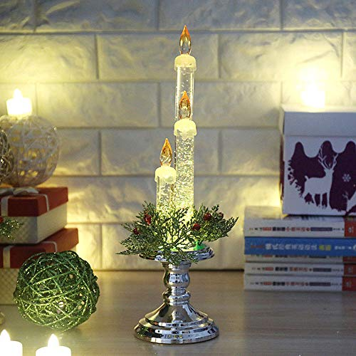 LtrottedJ Party Decoration Light Candle Home Flameless Electronic Props Christmas Gift (silver)