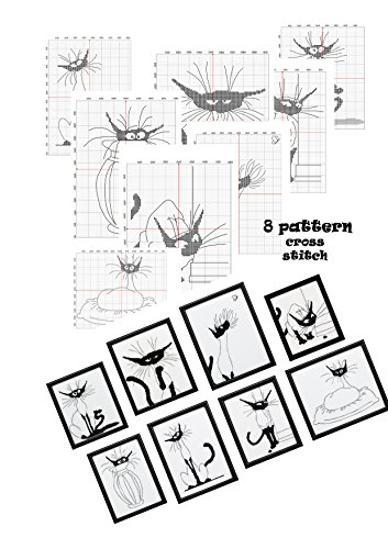 Design Patterns Download - Hand embroidery design books cross stitch pattern Cat silhouette Designs black and white cats Subversive x stitch Hand embroidery cross-stitching crafts hobby Mini cat art Monochrome silhouette cat