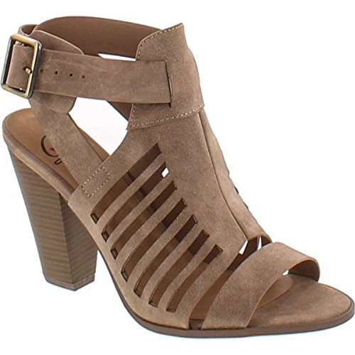 - Soda Delicious Yummy Cutout Stacked Heel Sandal,Taupe Pu,11