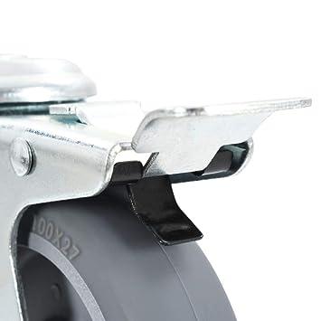 vidaXL 4x Lenkrolle Bolzenloch Bremse 75 mm Transportrollen Schwerlastrollen