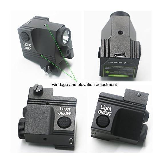 XYHlaser Compact Pistol Green Laser Sight Handgun Flashlight Strobe Light  Combo 2HY06 20mm Picatinny Rail Mount Rechargeable Adjustable
